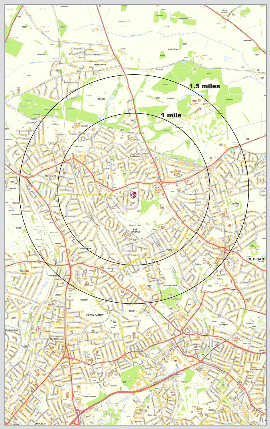 map to show a mile and a mile and a half from east barnet school